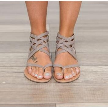 GRAY WOVEN SUEDE GLADIATOR WOMENS SANDALS