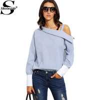 Sheinside Blue Striped Fold Over Asymmetric Shoulder Contrast Cuff Shirt Ladies Long Sleeve Buttons Blouse