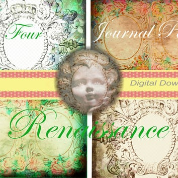 Printable Renaissance Journal Pages, Downloadable Digital Papers, Craft Supplies, Journal Making, Card Making, Wedding Art, Art Supplies