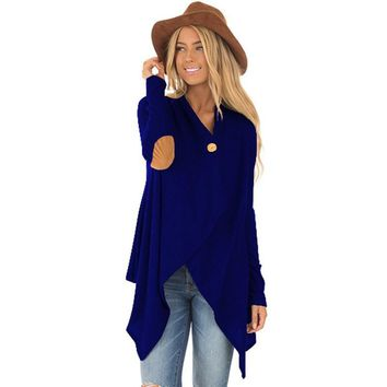 Trendy 2018 Oversized ZANZEA Spring Women Solid Button Long Sleeve Asymmetric Long Cardigan Suede Elbow Patch Jackets Casual Party Coat AT_94_13