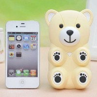 3D Cartoon Bear Silicone Back Case cover for Iphone 4/4s
