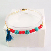 turquoise and coral bracelet red coral and tuquoise gemstone bracelet boho chic bohemian gemstone jewelry