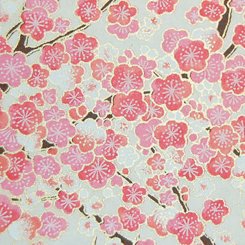 Japanese Chiyogami Yuzen Paper - Pink and White Japanese Blossoms with Gold Highlights - 5 x 4.25 inches