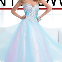 Strapless Light Blue Ball Gown