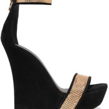 Embellished suede wedge sandals | BALMAIN | Sale up to 70% off | THE OUTNET