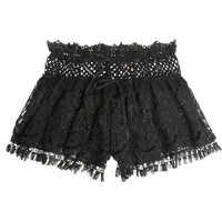 Emamó - Lace and crocheted cotton shorts