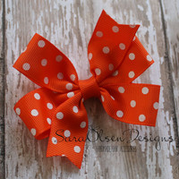 Pinwheel Hairbow, Polka Dot Hairbow, Orange White, Toddler Bows, Hair Clips, Petite Bows, 3 Inch, Polka Dot Bow, Children's Hair Accessories