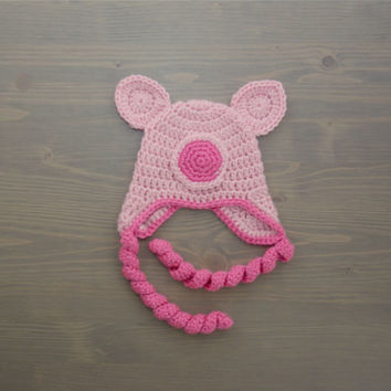 Crochet Pig Hat, Crochet Baby Hat, Newborn Photography Prop, Crocheted Baby Hat, Baby Boy Hat, Baby Girl Hat, Baby Shower Gift, Baby Pig Hat