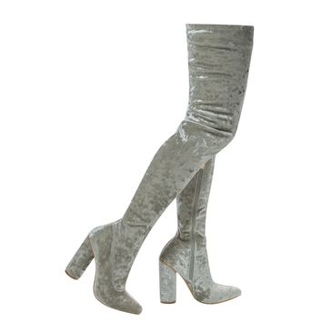 Paw27 Gray By Anne Michelle, OTK Over Knee Shimmering Pull On Velvet High Block Heel Dress Boots