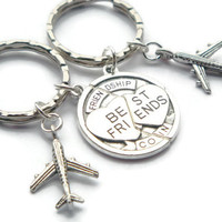 Best Friends Keyrings ~ Airplane Keychain, Long Distance, Friendship Coin, BFF Gift, 2 Friend Present, Sisters Birthday, Mothers Day Ideas