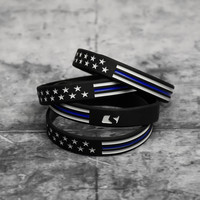 Tactical Thin Blue Line USA Flag Motivational Wristband