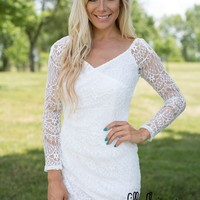 Wrapped Beauty White Lace Dress