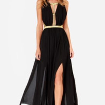 Pharaoh-est of Them All Gold and Black Maxi Dress