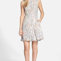Women's Tory Burch Stretch Jacquard Fit & Flare Dress,