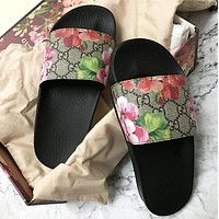 Gucci Popular Women Men Summer Beach Floral Print Sandal Slipper Shoes I