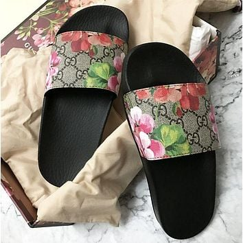 Gucci Hot Sale Fashion Women Men Casual Floral Print Sandal Slipper Shoes