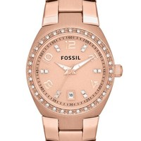 Women's Fossil Crystal Dial Watch, 28mm - Rose Gold