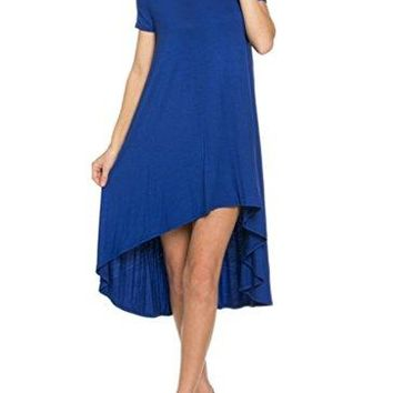 12 Ami Solid Short Sleeve High Low Midi Dress  Made in USA