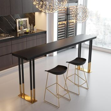 American Wrought Iron Wood Bar Table And Chairs Home Tea Shop By Wall Long Bar Table Black Gold High Table And Chair Combination
