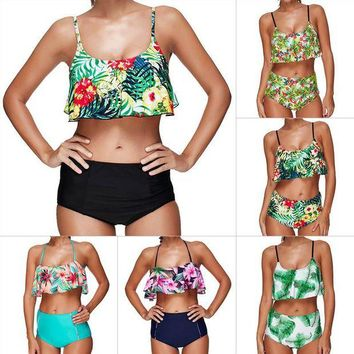 LMF57D High Waist Swimsuit Women Push Up Bikini 2017 Ruffle Plus Size Swimwear Female Padded Bikini Set Biquini Bathing Suit Swim Suit