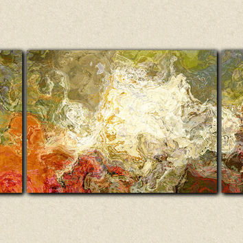 "Large triptych contemporary art  canvas print, 30x60 abstract in olive greens and rusty oranges, from abstract painting ""Chrysanthemum"""
