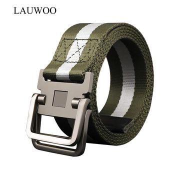LAUWOO 2017 Military Equipment Tactical Belt Man Double Ring Buckle Thicken Canvas Belts for Men Waistband unisex canvas belts