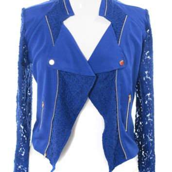 Plus Size Lace Sleeves Royal Blue Biker Jacket, Plus Size Clothing, Club Wear, Dresses, Tops, Sexy Trendy Plus Size Women Clothes