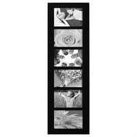 "Adeco PF0167 6-Opening Black Wood Wall Hanging Picture Photo Frame - Home Decor Wall Art,Holds Six 4"" x 6"" Photos"