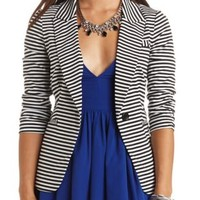 Striped Single Button Boyfriend Blazer - Ivory Combo