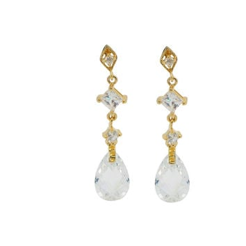 Fronay Collection 925 Sterling Silver Zirconia Briolette Drop Earrings