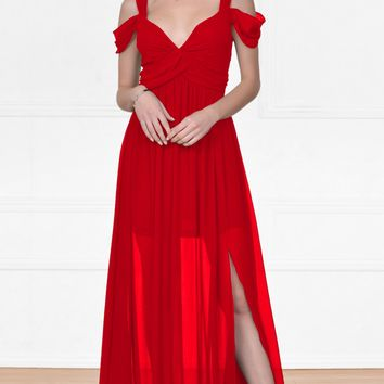 Indie XO Once Upon a Time Red Sleeveless Off The Shoulder V Neck Long Side Slit Maxi Dress Evening Gown