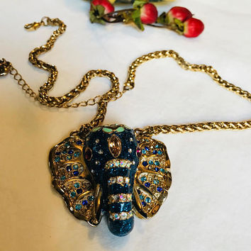 Gorgeous Glittery Blue Enamel Rhinestone Adorned Elephant Pendant Necklace adjusts to Choker
