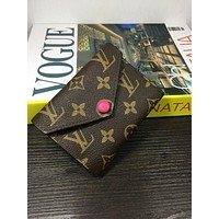 LV Louis Vuitton Popular In The World Women Leather Print Rose Red Buckle Handbag Wallet Purse I