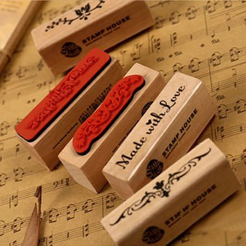 Free shipping 1pcs vintage strip wooden rubber stamp Kids DIY Handmade Scrapbook Photo Album students Stamps Arts Crafts gifts