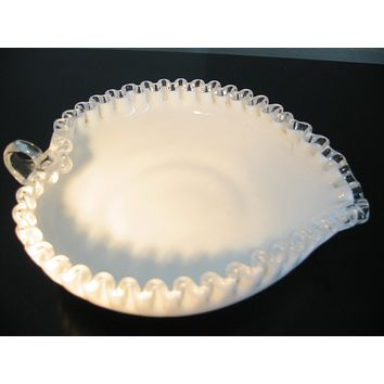 Fenton Milk Glass Heart Shape Condiment Bowl