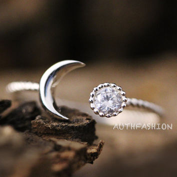 Sterling Silver Crescent Moon Ring Adjustable Open ring Simple Jewelry gift idea