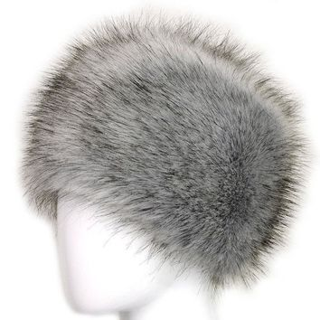 ESBU3C Russian Lady Women Faux Fox Fur Cossack Style Winter Warm Earflap Hat Beanie Cap -Y107