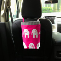 Car Bag ELEPHANTS CANDY PINK and White, Women, Car Litter Bag, Car Accessories, Car Caddy, Car Trash Bag