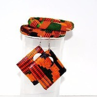 Kente Print Bangles And Earrings Gift Set