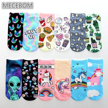 2018 New Cute 3D Print Socks Women Ankle Socks Chaussette Aliens Animal Unicorn 3D Printing Sock Art Socks for female k8