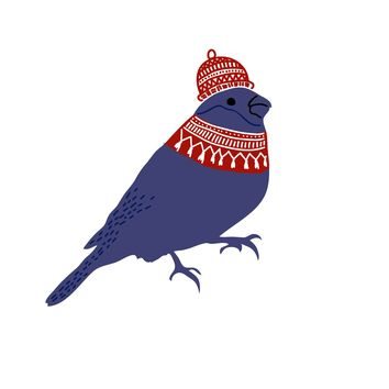 Colorful Contemporary Bird in a  Knit Cap Hand Embroidery Pattern