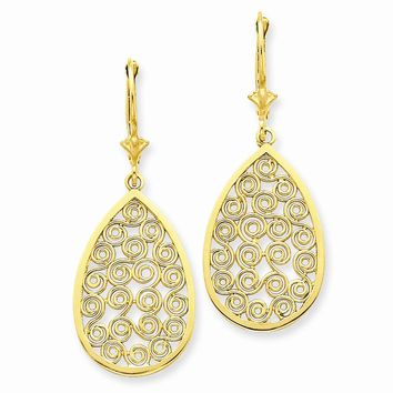 14k Yellow or White Gold Teardrop Filigree Dangle Leverback Earrings