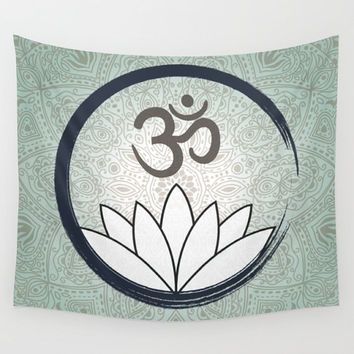 Mandala Wall Tapestry Neutral Colors Yoga Ohm Symbol With Lotus