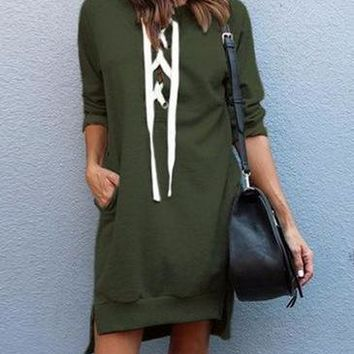 Women's Olive Green Casual Long Sleeve Lace Up Sweat Shirt Dress