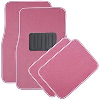 OxGord Universal Fit Front/Rear 4-Piece Full Set Heavy Duty Economy Carpet Floor Mat - (Pink)