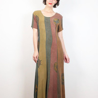 Vintage 90s Dress Green Brown Pink Boho Gauze Midi Dress 1990s Dress Batik Hippie Dress Soft Grunge Bohemian Tshirt Maxi Dress M L Large XL