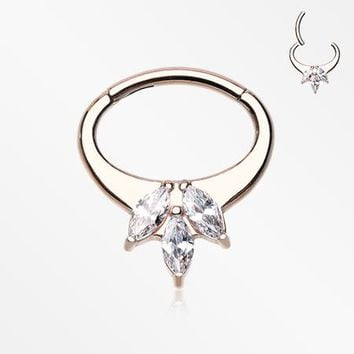 Rose Gold Brilliant Sparkle Floral Seamless Clicker Hoop Ring