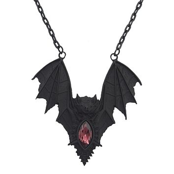 Gothic Vampire Bat Pendant Necklace Black Goth Gift Witch Jewelry