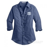 Monogrammed Ladies Crosshatch Ruffle Oxford | Marleylilly