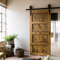 Black 6-8 FT Rustic Sliding Barn Door Closet Hardware Set  FREE SHIPPING